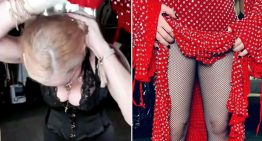Madonna whips off her dress after complaining it weighs more than her
